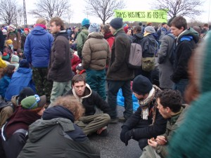The people summit took place on the road by the Bella Centre.  people broke into groups to discuss real solutions to the climate crisis.
