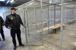metal cages used to house protestors without charge for 6-12 hours
